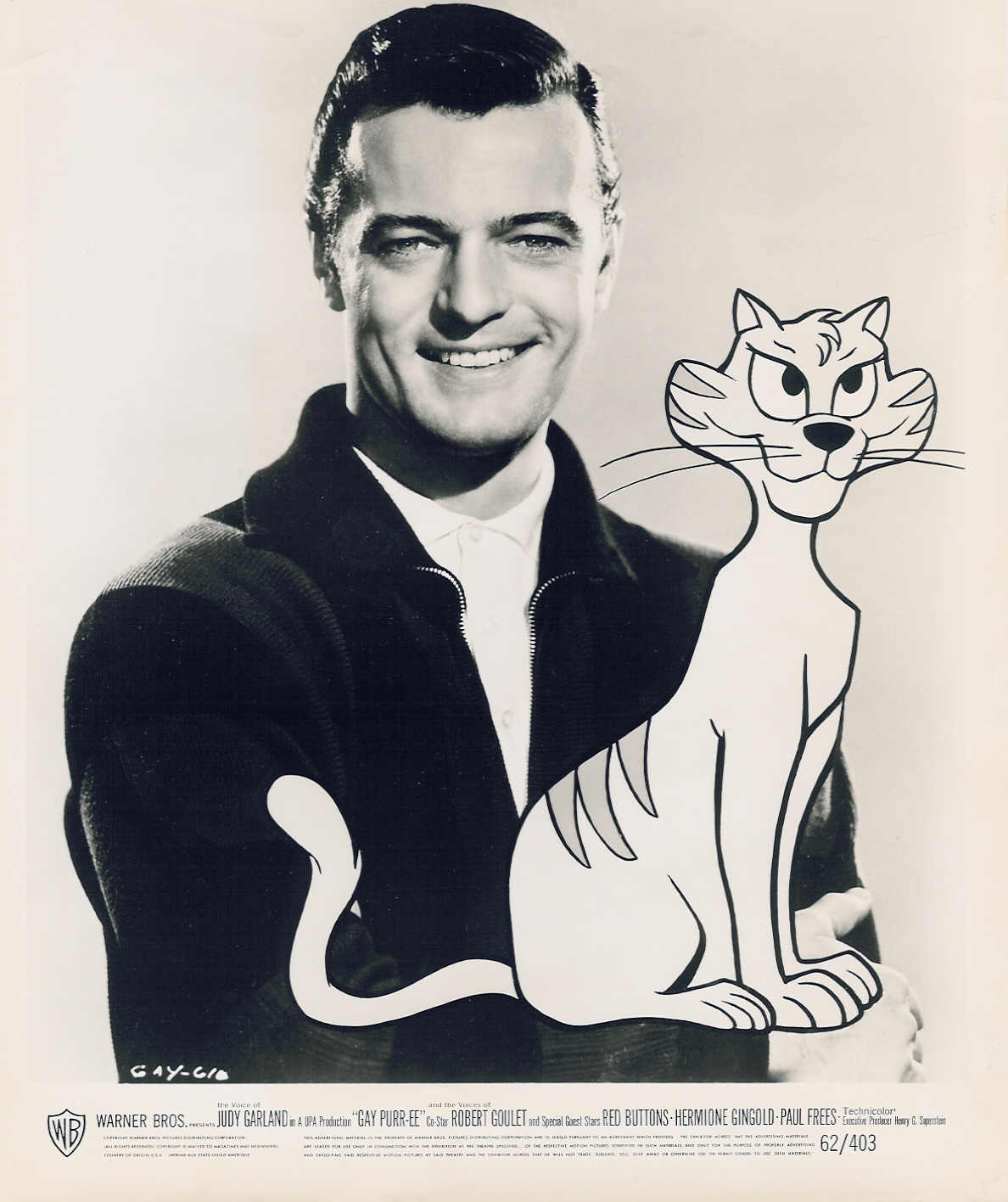 "Robert Goulet  in animated movie ""Gay Purr-ee"""
