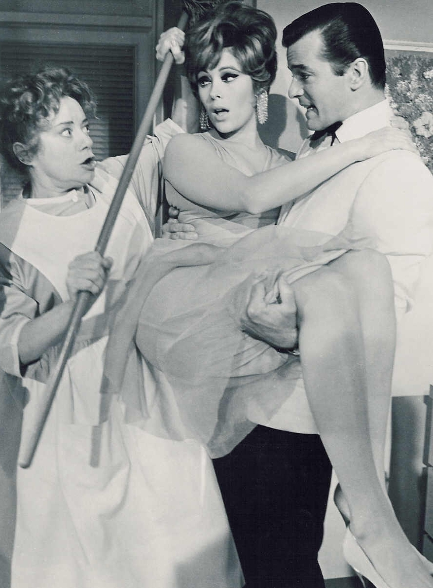 "Elsa Lancaster, Jill St. John and Robert Goulet in the movie ""Honeymoon Hotel"""