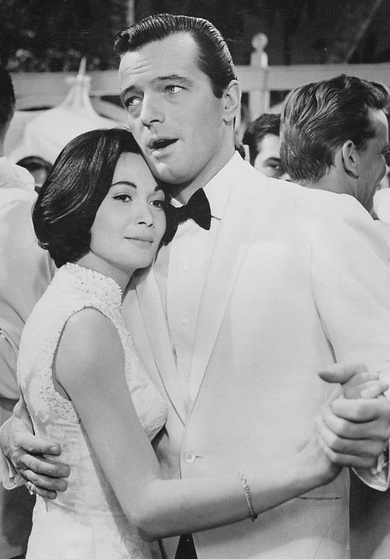"Nancy Kwan & Robert Goulet in the movie ""Honeymoon Hotel"""